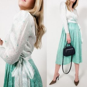 Vintage pleated teal midi dress wrap top bow tie
